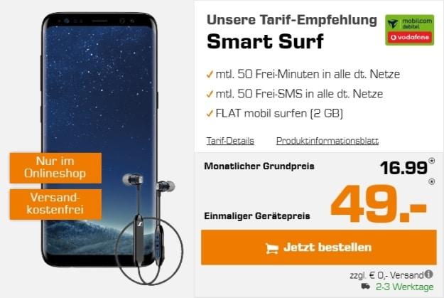 Samsung Galaxy S8 + Sennheiser-Headset + Vodafone Smart Surf (mobilcom-debitel) bei Saturn