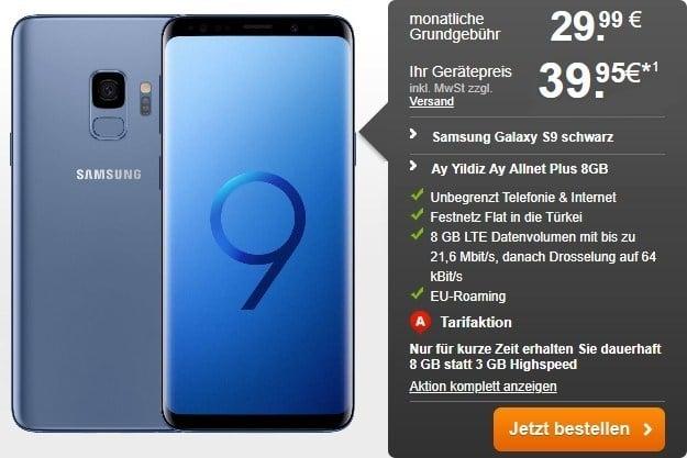 Samsung Galaxy S9 + Ay Yildiz Ay Allnet Plus bei Handyflash