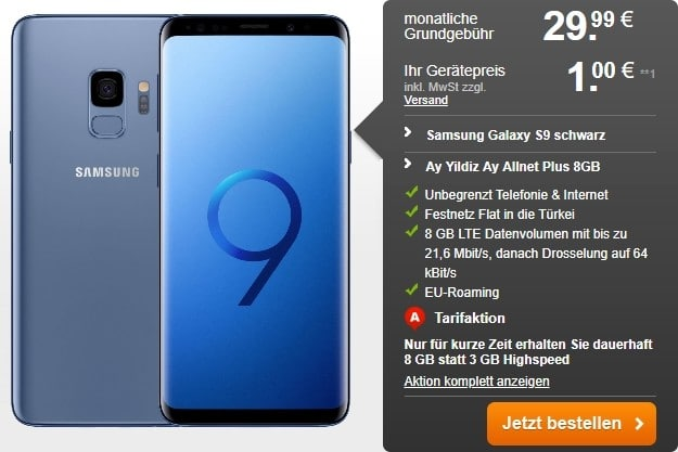 Samsung Galaxy S9 + Ay Yildiz Allnet-Flat Plus bei Handyflash