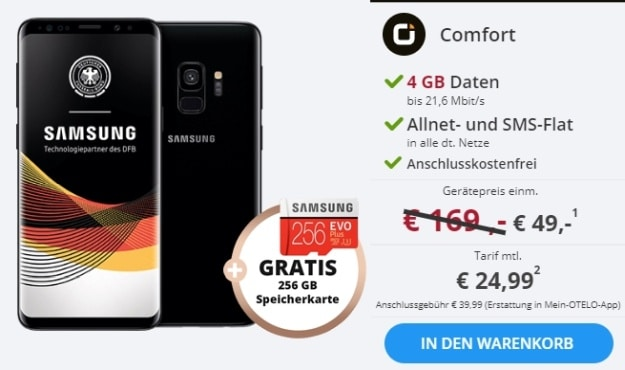 Samsung Galaxy S9 + otelo Allnet-Flat Comfort bei Sparhandy