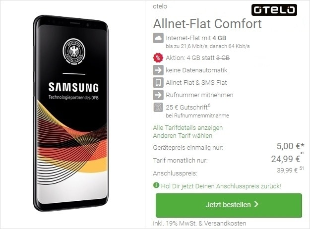Samsung Galaxy S9 + otelo Allnet-Flat Comfort bei DeinHandy