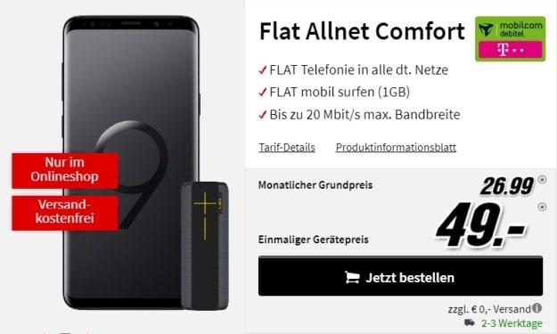 Samsung Galaxy S9 Plus + Ultimate Ears Megaboom Panther + mobilcom-debitel Flat Allnet Comfort (Telekom-Netz) bei MediaMarkt