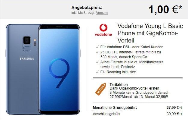Samsung Galaxy S9 + Vodafone Young L mit Vodafone GigaKombi bei LogiTel