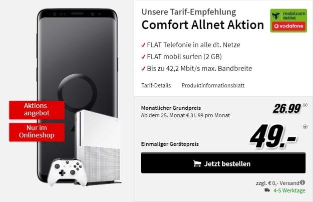 Samsung Galaxy S9 + Microsoft Xbox One S + Vodafone Comfort Allnet (mobilcom-debitel) bei MediaMarkt