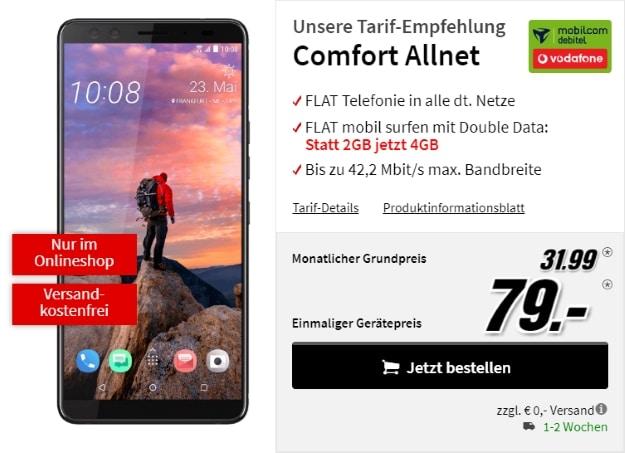 HTC U12 Plus + Vodafone Comfort Allnet (mobilcom-debitel) bei MediaMarkt