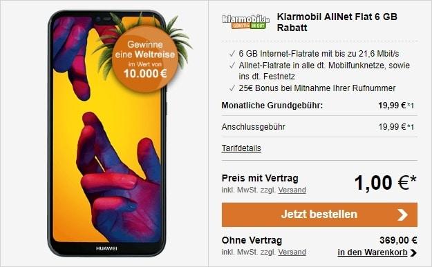 Huawei P20 Lite + klarmobil Allnetflat 6000 (Vodafone) bei LogiTel