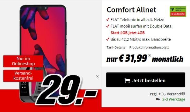 Huawei P20 Pro + Huawei Band 2 Pro + Vodafone Comfort Allnet (mobilcom-debitel) bei MediaMarkt