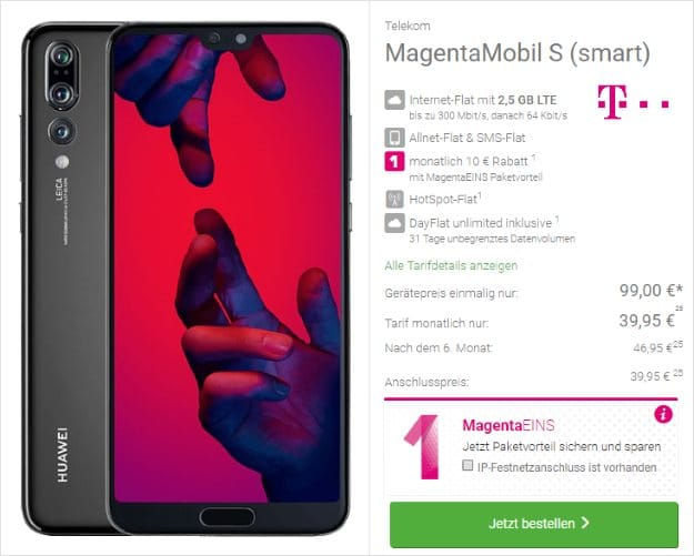 Huawei P20 Pro + Telekom Magenta Mobil S bei DeinHandy
