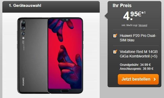 Huawei P20 Pro + Vodafone Red M GigaKombi bei Handyflash
