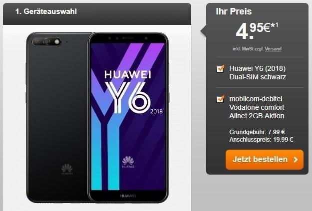 Huawei Y6 (2018) + Vodafone Comfort Allnet (mobilcom-debitel) bei Handyflash