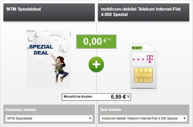 mobnilcom-debitel Internet-Flat 4.000 (Telekom-Netz) + 100 € HolidayCheck-Gutschein bei modeo