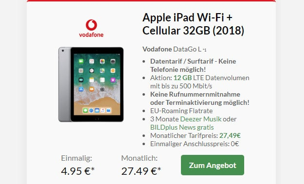ipad 2018 + datago l 12 gb lte