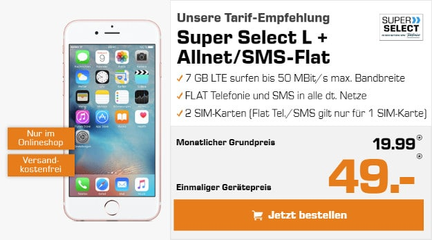 Iphone 6s Plus Sim Karte.Apple Iphone 6s Plus O2 Super Select L Fur Eff 4 32 Mtl