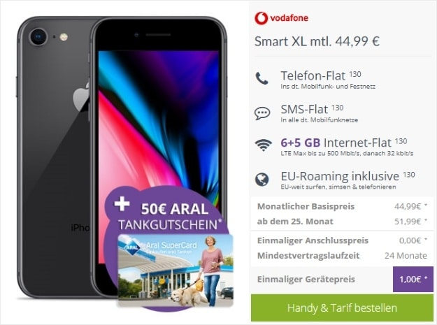 Apple iPhone 8 64GB + 50 € ARAL SuperCard + Vodafone Smart XL bei FLYmobile