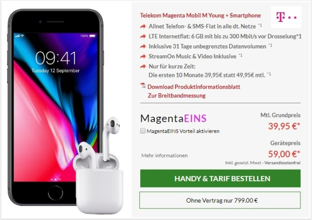 Apple iPhone 8 64GB + Apple AirPods + Telekom Magenta Mobil M bei Preisboerse24