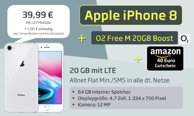 Apple iPhone 8 64GB + o2 Free M Boost bei Curved