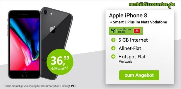 Apple iPhone 8 64GB + Vodafone Smart L Plus bei mobildiscounter