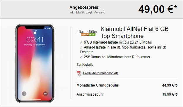 Apple iPhone X 64GB + klarmobil Allnet-Flat 6000 bei LogiTel