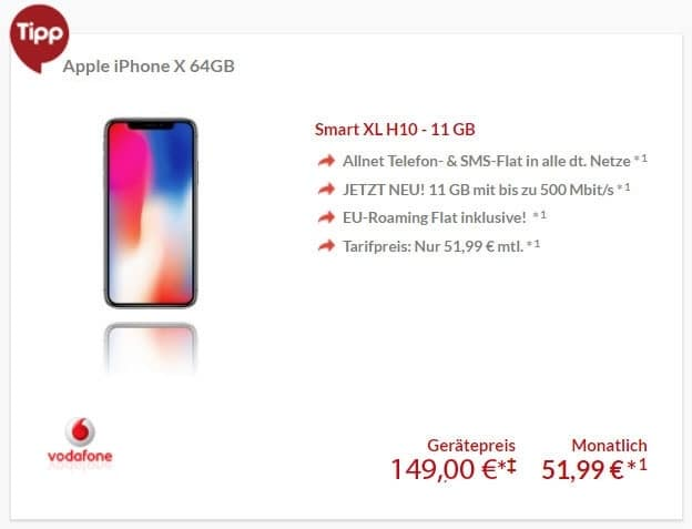 iPhone X 64GB/256GB + Vodafone Smart XL ab eff. 19,07 € mtl. (Allnet- & SMS-Flat, 11 GB LTE)