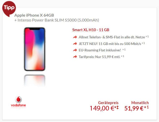 iPhone X 64GB/256GB + Vodafone Smart XL ab eff. 16,57 € mtl. (Allnet- & SMS-Flat, 11 GB LTE) + gratis Powerbank!