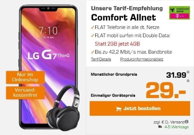 LG G7 ThinQ + Sennheiser HD 4.50 BTNC + mobilcom-debitel Comfort Allnet (Telekom-Netz) bei Saturn