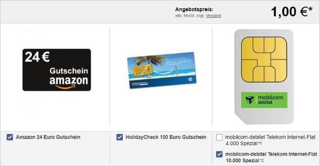 mobilcom-debitel Internet-Flat 10.000 (Telekom-Netz) + 24 € Amazon-Gutschein + 100 € HolidayCheck-Gutschein bei LogiTel