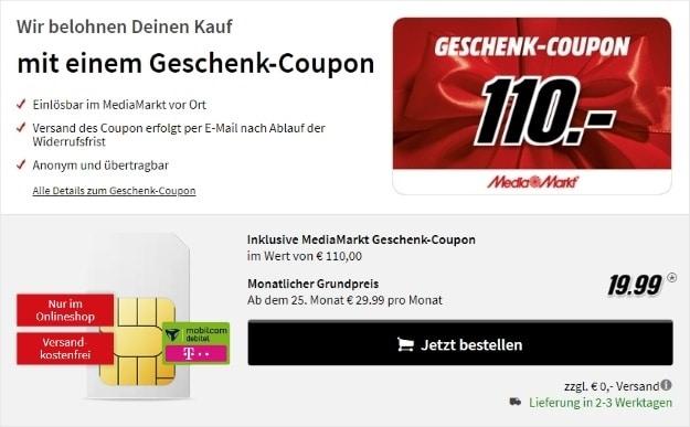 mobilcom-debitel Internet-Flat 10.000 (Telekom-Netz) + 240 € MediaMarkt-Gutschein bei MediaMarkt