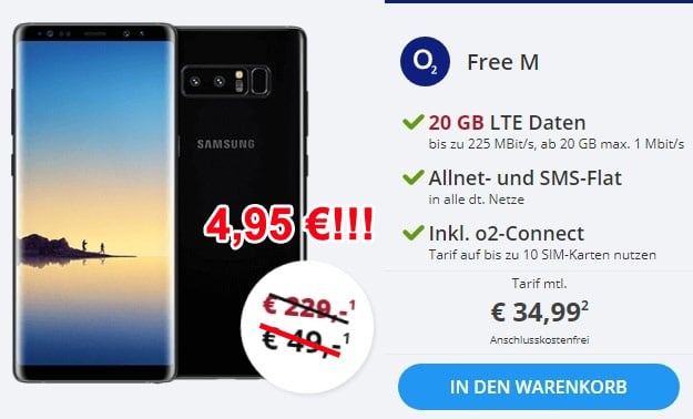 Samsung Galaxy Note 8 + o2 Free M Boost