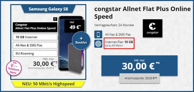 Samsung Galaxy S8 + Hama-Hülle + congstar Allnet-Flat Plus bei Tophandy