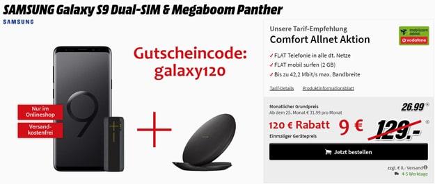 Samsung Galaxy S9 + Ultimate Ears Megaboom Panther + Vodafone Comfort Allnet (mobilcom-debitel) bei MediaMarkt