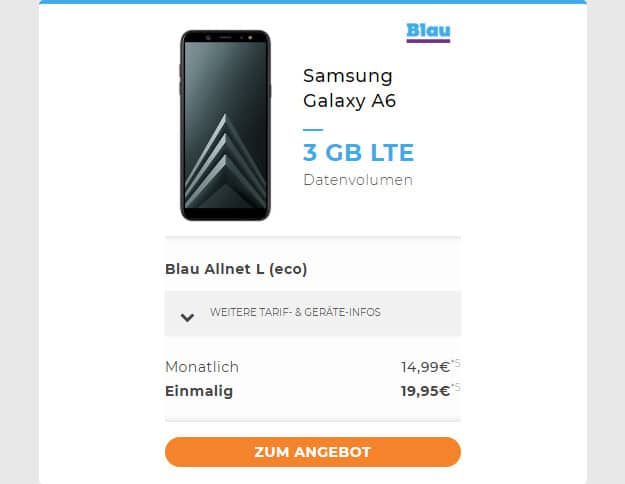 Samsung Galaxy A6 (2018) + Blau Allnet L bei Handyflash