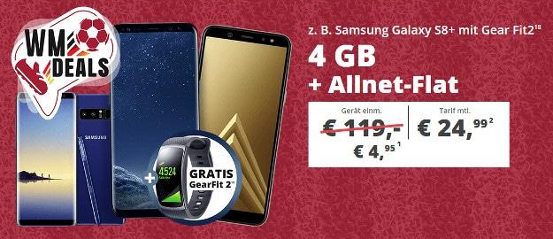 Samsung Galaxy S8 Plus + Samsung Gear Fit2 + otelo Allnet-Flat Comfort bei Sparhandy