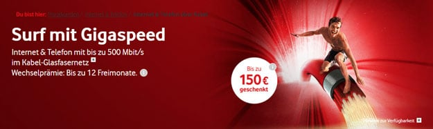 Vodafone Upload Option 50: Mit bis zu 50 MBit/s im Upstream in Internet & Phone Cable Tarife dank Option für 2,99 € pro Monat