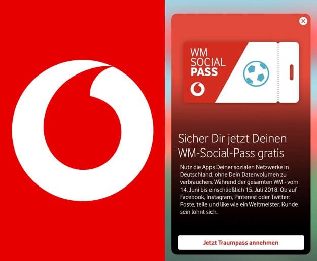 Vodafone WM Social Pass: Kostenlos über MeinVodafone App für Red-, Young- und Smart-Tarife - alle Details zur Aktion!