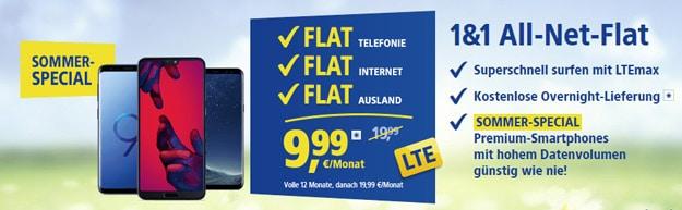 1&1 All-Net-Flat Tarife ab 9,99 € Grundgebühr (Allnet- & SMS-Flat, bis zu 15 GB LTE, o2- / Vodafone-Netz) - mit & ohne Top-Handy!