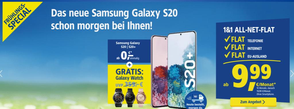 Frühlings-Special! 1&1 All-Net-Flat Tarife ab 9,99 € Grundgebühr (Allnet- & SMS-Flat, bis zu 20 GB LTE, o2- / Vodafone-Netz) - mit & ohne Top-Handy!