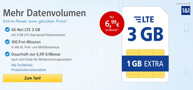 1&1 WEB.de All-Net Flat ab 6,99 € im Monat
