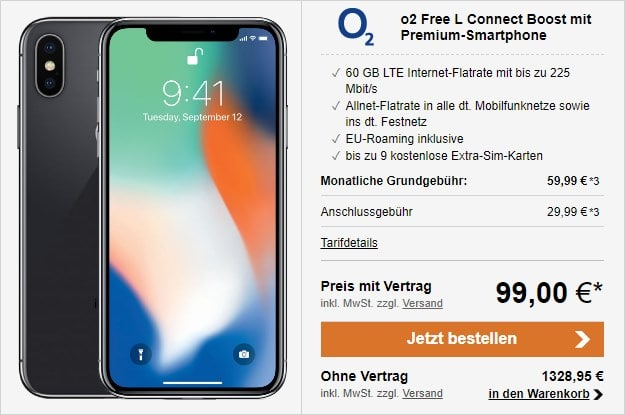 Apple iPhone X 64GB + o2 Free L Connect Boost bei LogiTel