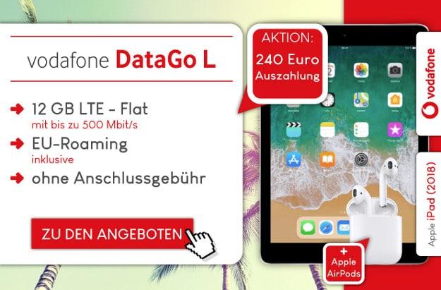Vodafone DataGo L + 240 € Auszahlung + Apple AirPods bei Preisboerse24