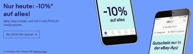 Hammer! eBay-Aktion: 10% Rabbat auf das komplette Sortiment außer Münzen - per Einkauf über die App!