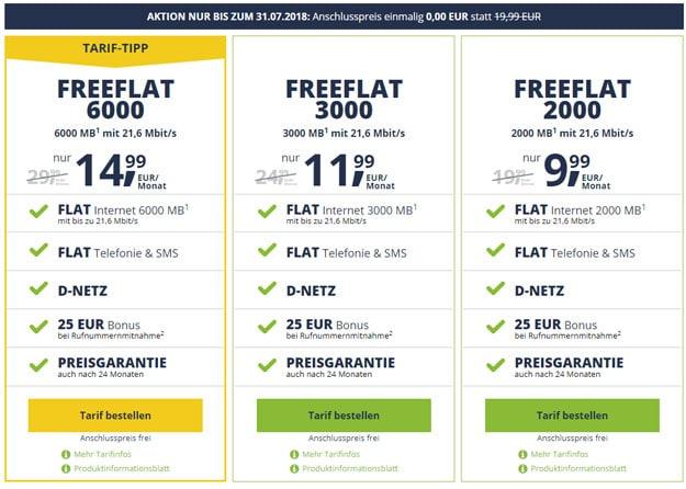 freeFlat Allnet-Flats im Vodafone-Netz ohne Anschlussgebühr - monatlich kündbar - günstig bestellen