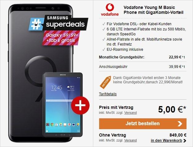 Samsung Galaxy S9 + Vodafone Young M mit GigaKombi-Vorteil bei LogiTel