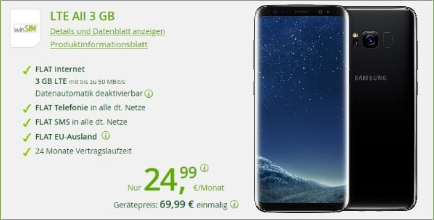 Samsung Galaxy S8 Plus + winSIM LTE All 3 GB bei winSIM