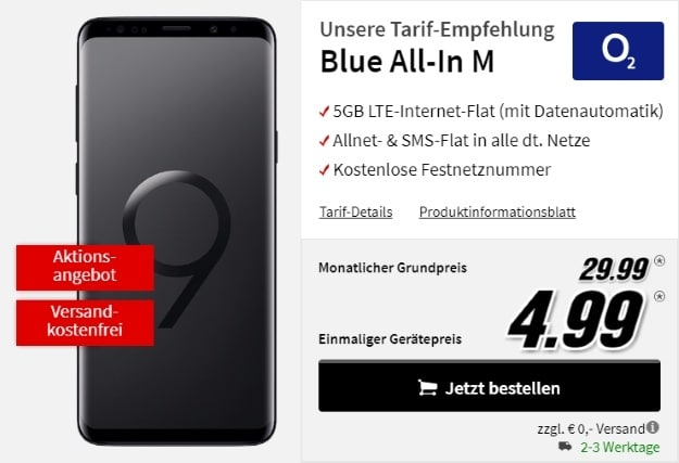 Samsung Galaxy S9 Plus + o2 Blue All-in M bei MediaMarkt