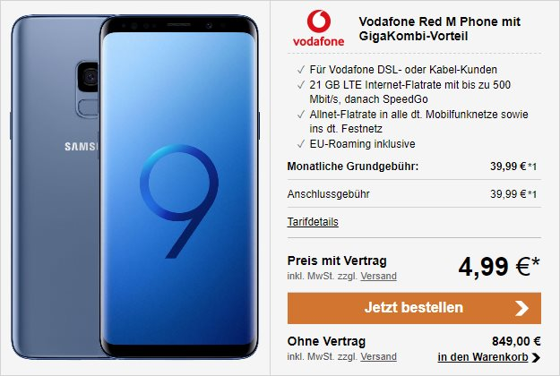 Samsung Galaxy S9 + Vodafone Red M GigaKombi bei LogiTel