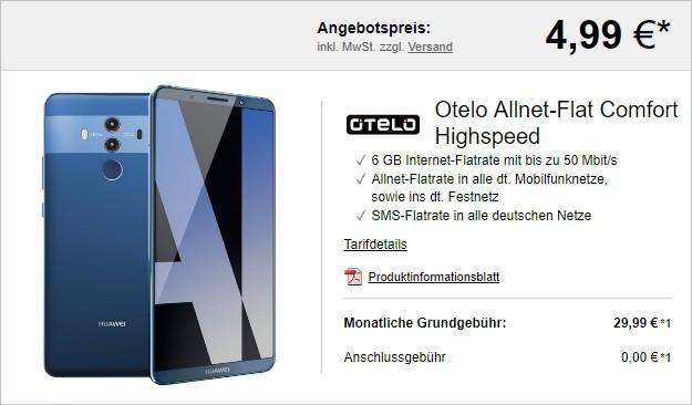 Huawei Mate 10 Pro + otelo Allnet Flat Comfort Speed bei LogiTel