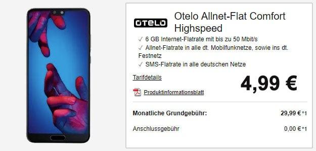 Huawei P20 Dual-SIM + otelo Allnet-Flat Comfort Speed für eff. 10,61 € mtl. (Allnet-Flat, SMS-Flat, 4 GB LTE, Vodafone)