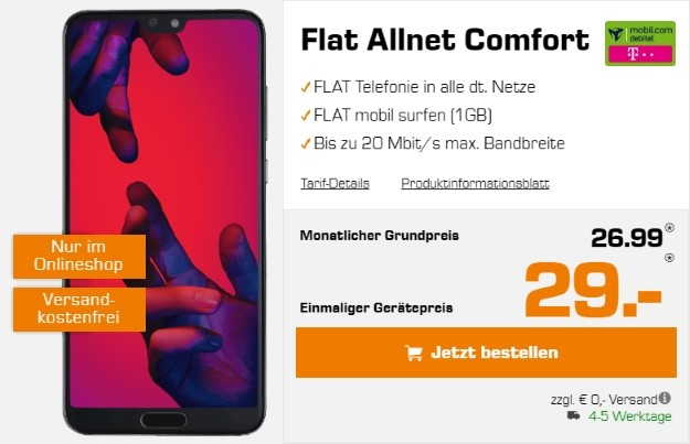 Huawei P20 Pro + mobilcom-debitel Flat Allnet Comfort (Telekom-Netz) bei Saturn
