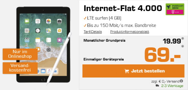 Apple iPad 2018 LTE + Apple Pencil + mobilcom-debitel Internet-Flat 4.000 (Telekom-Netz) bei Saturn