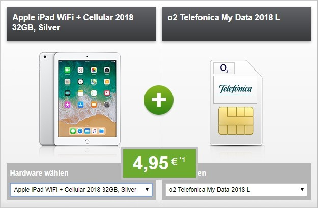 Apple iPad 2018 LTE + o2 my Data L bei Modeo